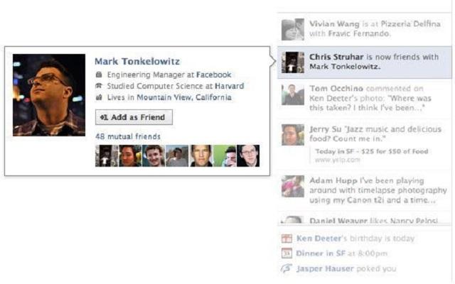 Facebook's Ticker that showed your friends' activities has been removed