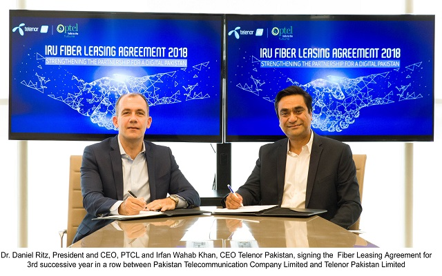 PTCL Signs Fiber Leasing Agreement for 3rd Consecutive Year with Telenor Pakistan