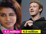 The Internet Sensation Priya Prakash Varrier now has More Followers on Instagram than Mark Zuckerberg