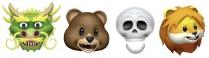 here are four new Animoji (dragon, bear, skull, and lion) on the iPhone X in iOS 11.3,