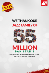 Jazz Becomes the Largest Telecom Network in Pakistan with 55 mn Customers
