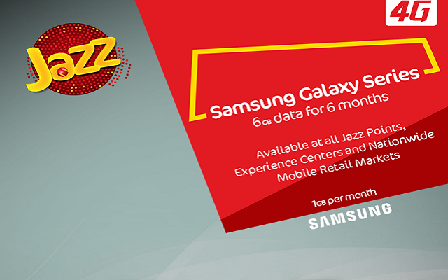 Buy any Samsung Galaxy series Smartphone & Enjoy 6 GB Jazz Super 4G Data for 6 Months
