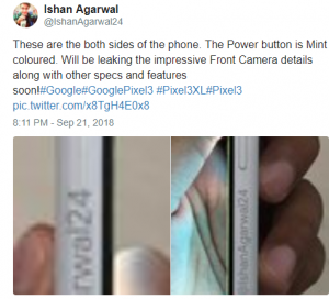 Google Pixel 3XL Leaked Images Show Mint-Colored Power
