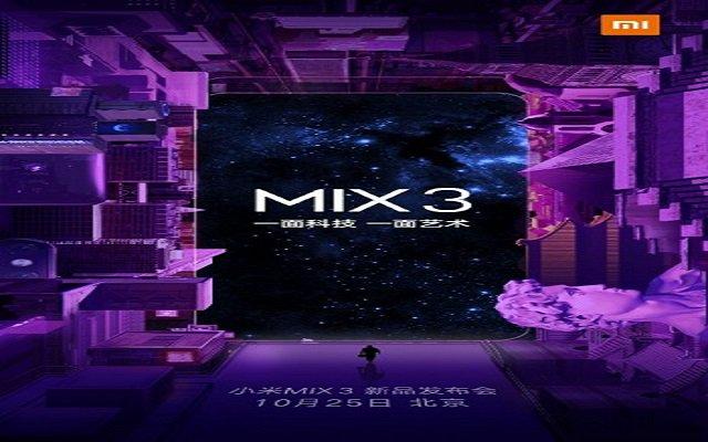 Xiaomi Mi Mix 3 to Arrive on October 25