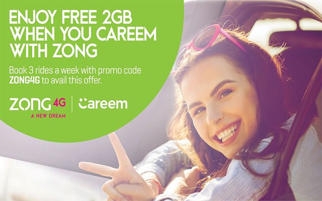 Zong 4G Customers to Get 2GB Free Data on Three Careem Rides