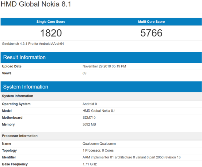 Nokia 8.1 Spotted At Geekbench Ahead Of Launch