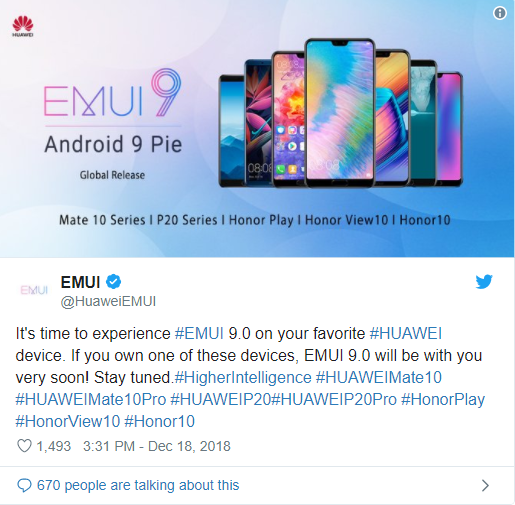 Android Pie Based EMUI 9 Update Rolls Out To Huawei Phones