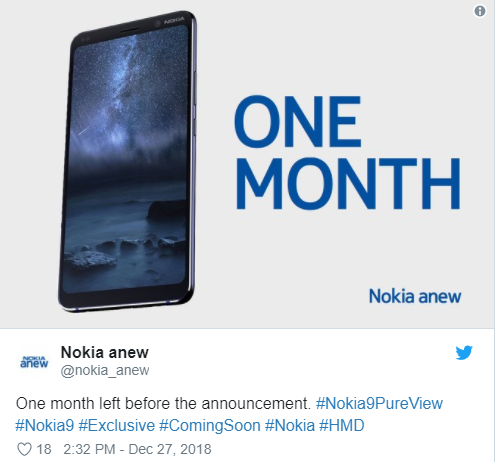 Nokia 9 PureView Launch Event Is Expected To Be Held In Late January 2019