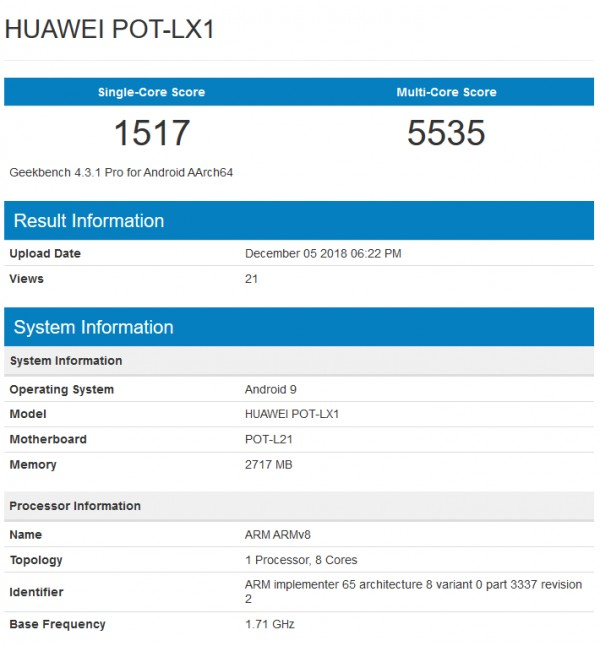 Upcoming Huawei P Smart Surfaced On Geekbench