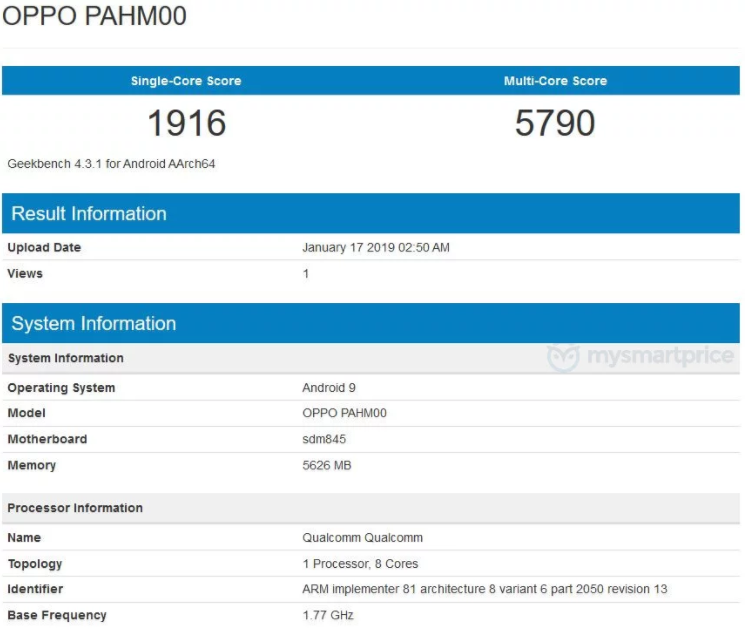 Oppo Find X Running Android 9 Pie Spotted At Geekbench