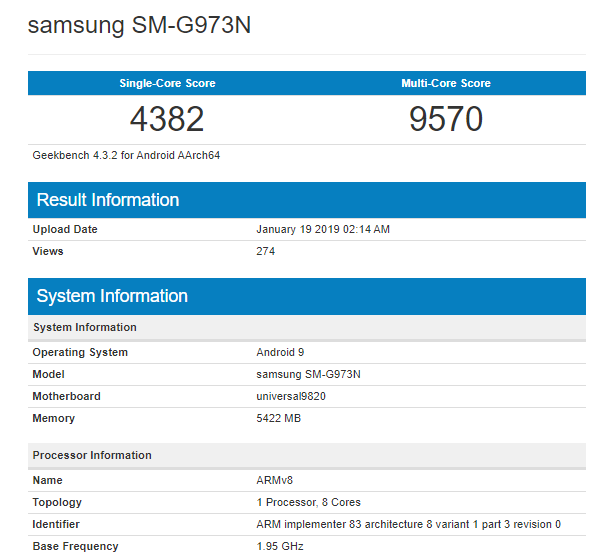 Upcoming Galaxy S10 Spotted At Geekbench With Exynos 9820