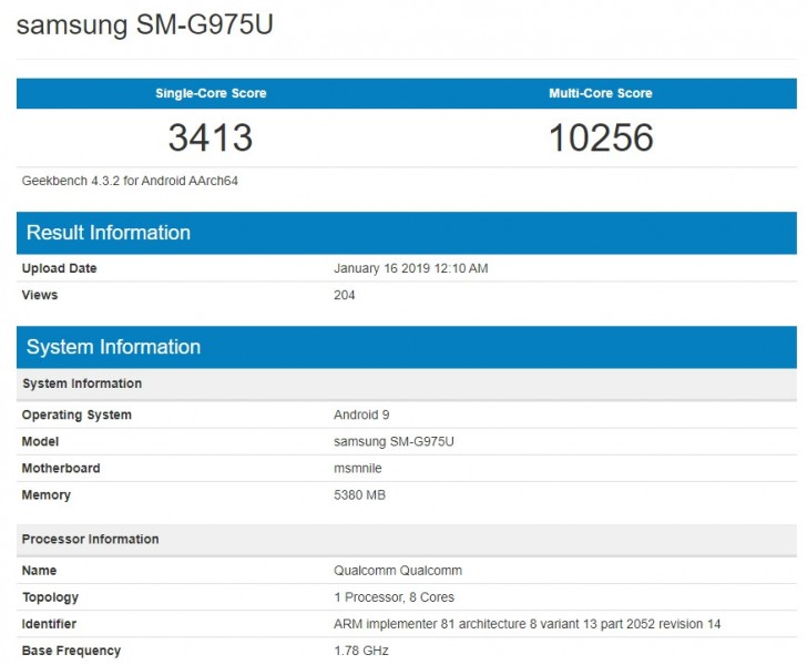 Samsung Galaxy S10+ Surfaces On Geekbench