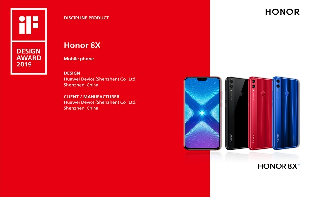 "HONOR 8X - THE SMARTPHONE BEYOND LIMITS WON THE TITLE OF ""DISCIPLINE PRODUCT"" AT THE iF INTERNATIONAL FORUM DESIGN AWARDS 2019"