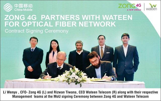 Zong 4G Extends Partnership with Wateen for long haul Optical Fiber