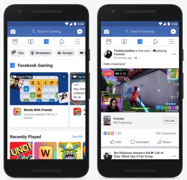 A New Gaming Tab Make Its Way To The Navigation Bar Of Facebook App