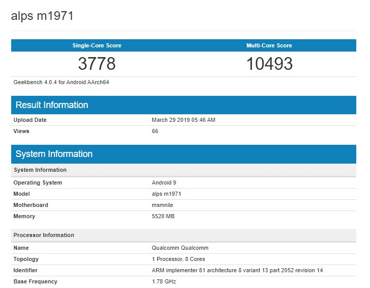 Alleged Meizu 16s Appears on GeekBench