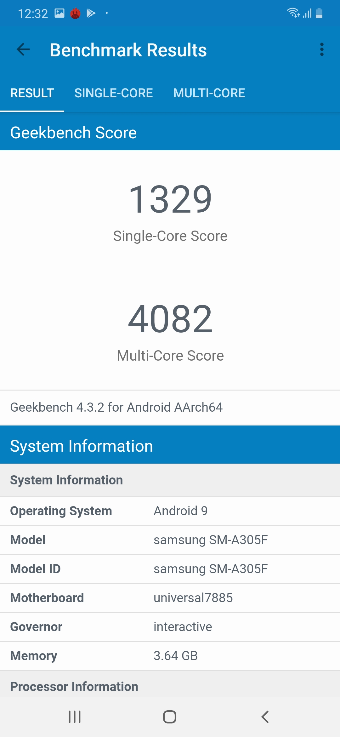 Galaxy a30 benchmarking geekbench