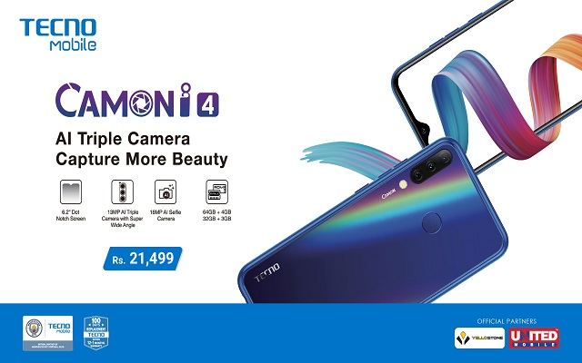 TECNO Finally Unveils Camon i4 - Its Much Anticipated First Triple Camera Phone With Drop Notch Display!