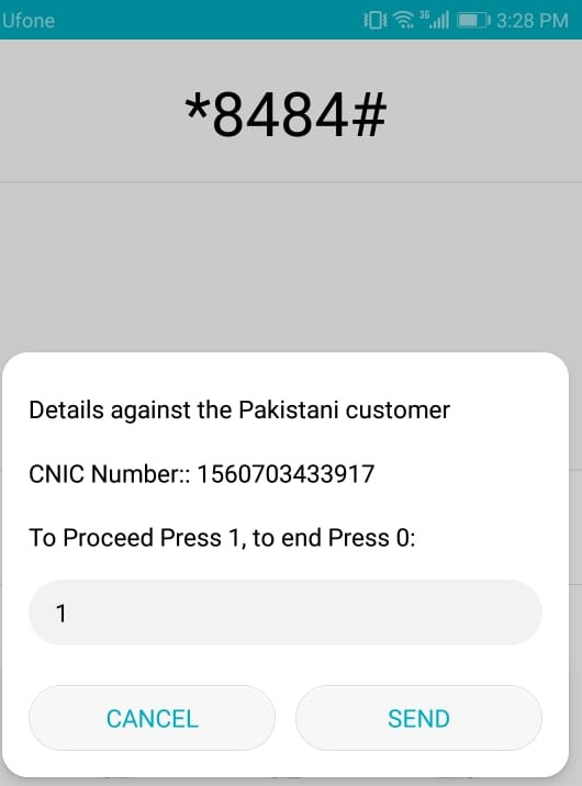Checking No. Of Registered Devices On Your CNIC USSD Based Registration