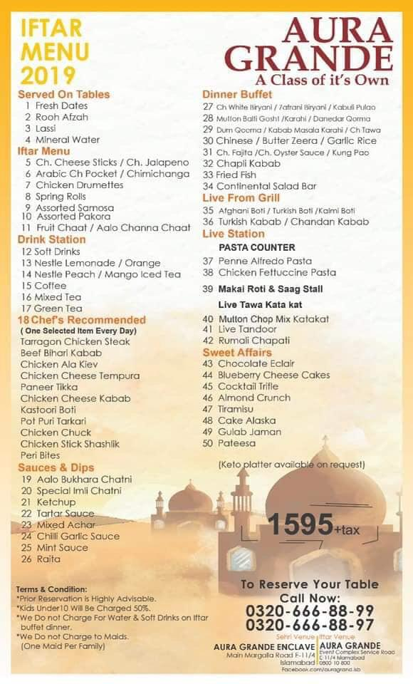 Best Aftar & Sehri Deals 2019 In Islamabad You Can't Afford