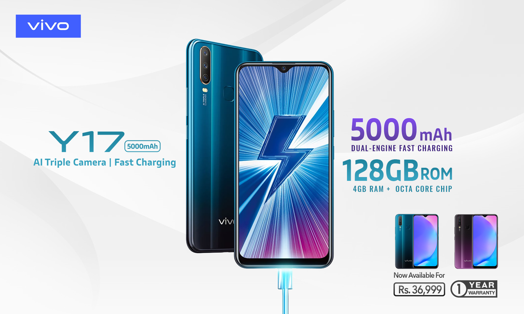 Vivo Y17 5000mAh Battery Dual-Engine Fast Charging