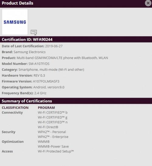 Galaxy A10s Gets WiFi Certified