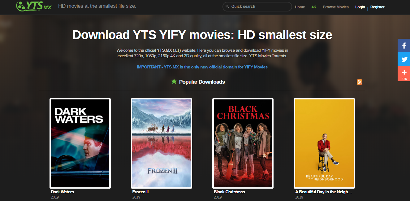 YIFY movies Best Movie Download Sites
