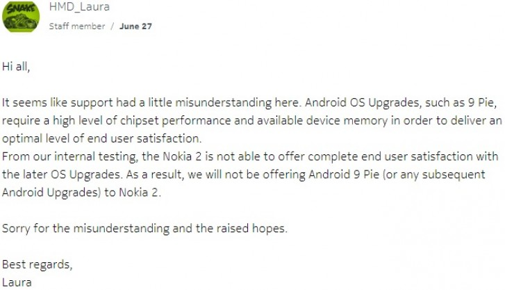 HMD Will Not Drop Nokia 2 Android Pie Update Now