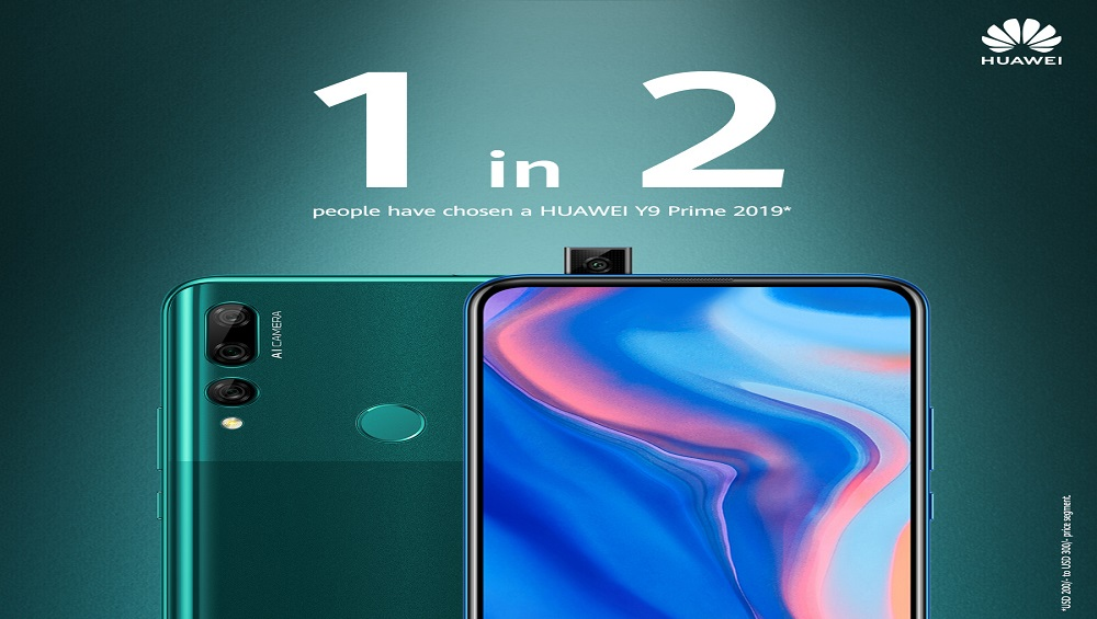 One in Two* People Choose HUAWEI Y9 Prime 2019 in Pakistan