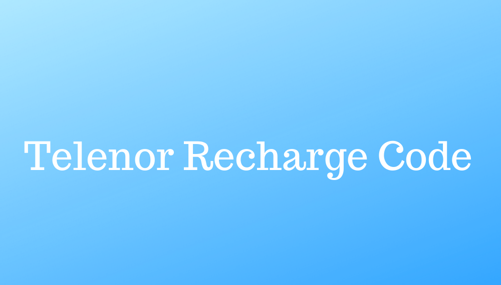 Telenor Recharge Code