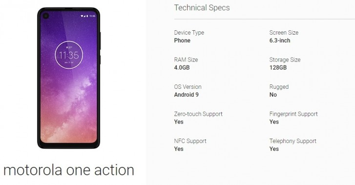Motorola One Action Specs Got Confirmed
