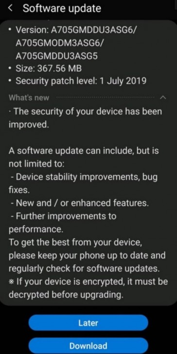 Galaxy A70 Latest Update Is Making It Way To All Users