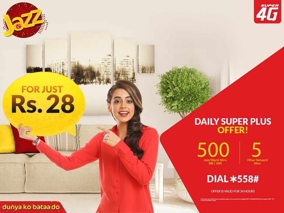 Jazz Daily Super Plus Offer in Just Rs 28