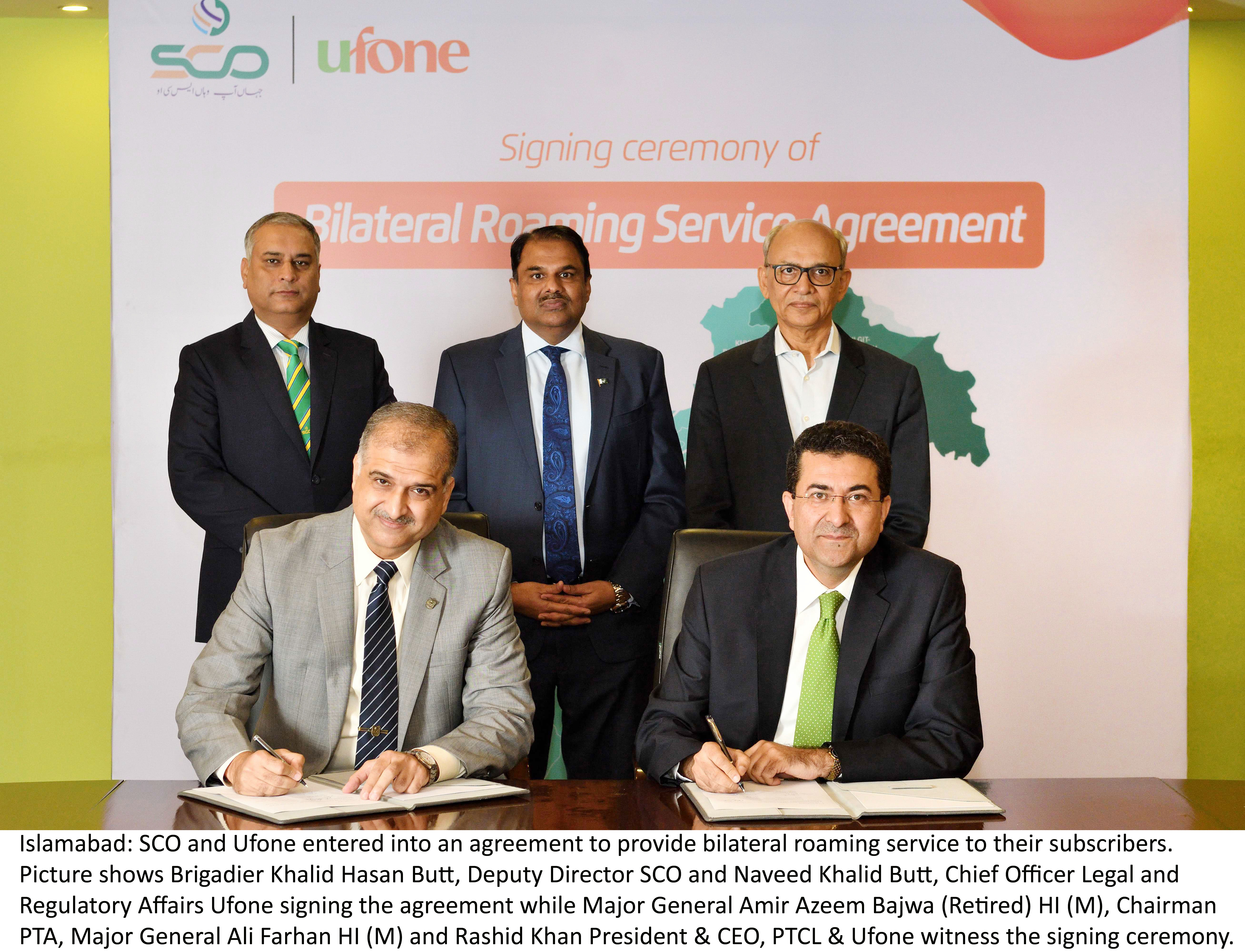 SCO & Ufone Signs Bilateral Roaming Service Agreement