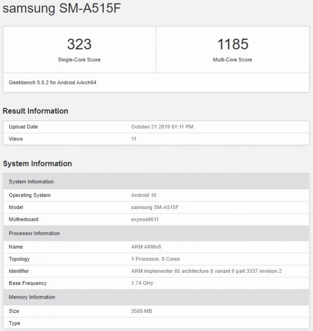 Samsung Galaxy A51 Specs Revealed through Geekbench