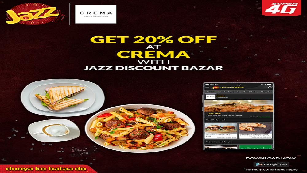 This time enjoy 20% off at Crema cafe