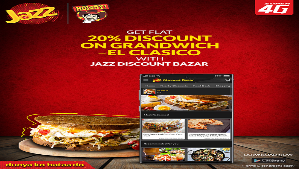 Get 20% Off on the Grandwich With Jazz Discount Bazar App