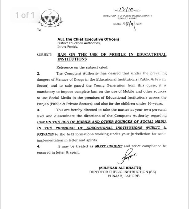 Mobiles Banned In Educational Institutes And For Children Under 16 years
