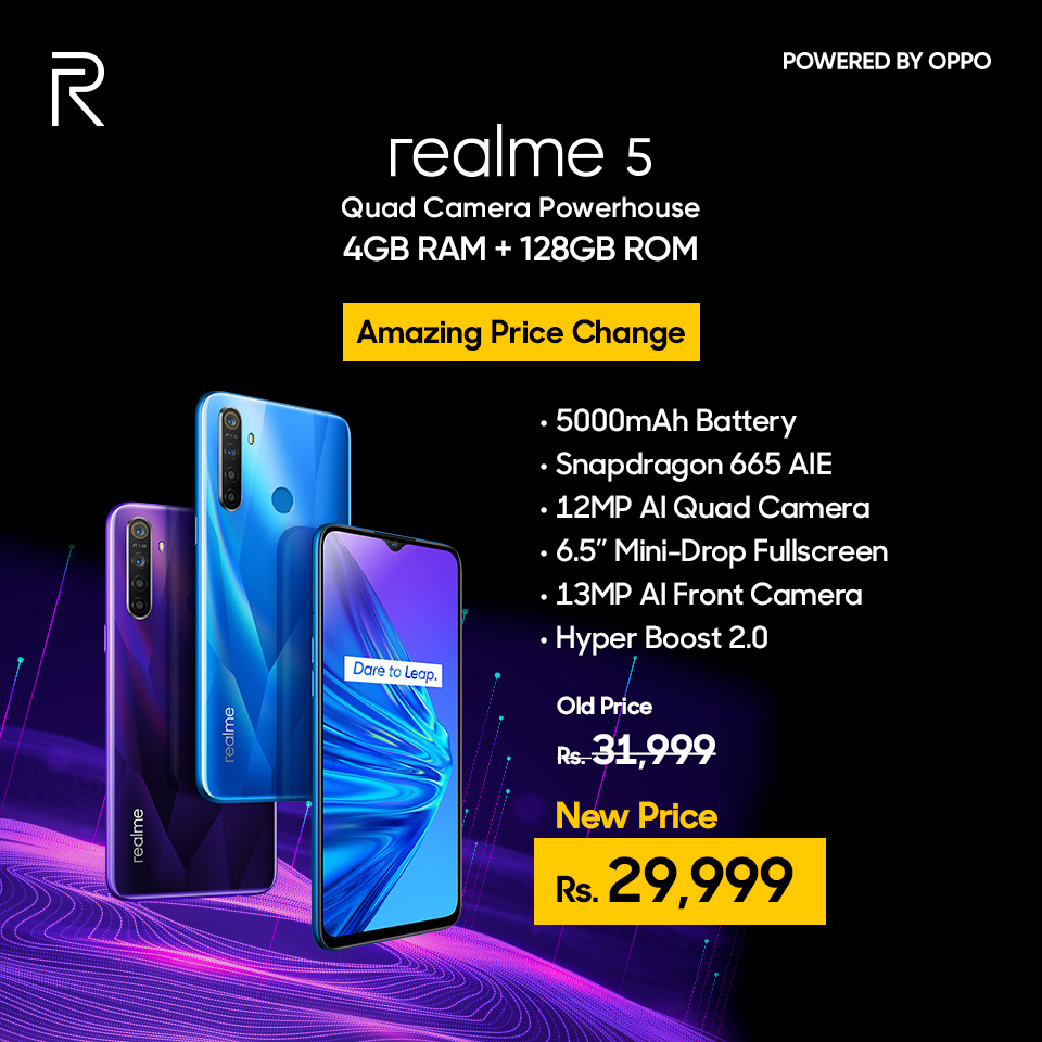 realme's upward trajectory in Pakistan has been phenomenal since the brand's entry last year, realme has been aggressive in its approach, launching successful budget to mid-range smartphones with an attractive spec sheet and affordable pricing. realme has made a name for itself by selling smartphones with powerful hardware at prices aggressive enough to go up against its competitors. The company recently launched the Realme 5 series and the flagship realme XT and it did manage to shake the industry up. Now, the company is looking at the lower end of the market by bringing in the upgrade to the Realme C2 with new 3GB + 64GB variant at Rs. 21,999 and special discount of Rs. 2000 on the best-selling realme 5 4GB+128GB variant which will be now available at Rs. 29,999. realme C2 Taking a leap on entry level smartphone series Realme has launched a new storage variant of the realme C2, which comes with 64GB of inbuilt storage paired with 3GB of RAM. The price of this variant is Rs. 21,999 and will be available in the offline market from November 8, 2019.The Realme C2 has so far been available in only two memory configurations – 2GB+16GB and 2GB+32GB in diamond black and blue colours. The realme C2 is well designed and has a diamond-cut pattern on the back that makes it look premium. The phone is compact and feels comfortable to hold in the hand. It has a dual camera setup at the back which consists of a 13-megapixel primary camera and a 2-megapixel depth sensor. Powering the smartphone is a MediaTek Helio P22 SoC and comes in two variants- 2GB RAM with 16GB storage, and 3GB RAM with 32GB of storage. Realme has packed in a 4000mAh battery which delivers very good battery life. The supplied 10W charger is also quick enough to top the battery up. realme 5 Big festive sales ahead in November. Realme has also announced exciting discount on the best seller budget hero smartphone Realme 5. The new price of realme 5 4GB+128GB variant will be 29,999. realme 5 is Pakistan's first Snapdragon 665 based mobile device. The realme 5 series have also been equipped with fireproof protective separation and triple precautions to guarantee battery safety. realme 5 is available in two new colors - Crystal Blue and Crystal Purple. Realme 5 features a 6.5-inch HD+ Mini-drop Full Screen display, which gives a larger field of view, provides excellent gaming, audio and video experience. With realme 5, the company has enhanced its diamond-cut design with holographic color and reflecting texture. It packs a brand-new image experience with an AI quad camera setup – 119° ultra wide-angle lens (8MP), main camera (12MP), portrait lens (2MP) and ultra macro lens (2MP), as well as an AI front camera (13MP). With a massive 5000 mAH battery for enjoying extra-long entertainment experience, realme 5 runs on Android 9.0 ColorOS 6.0 operating system and is available in 3 variants - 3+64GB priced at PKR 23,999 , 4+64GB priced at PKR 25,999 and 4+128GB will be now available in offline market at price point of PKR 29,999 from November 7, 2019.