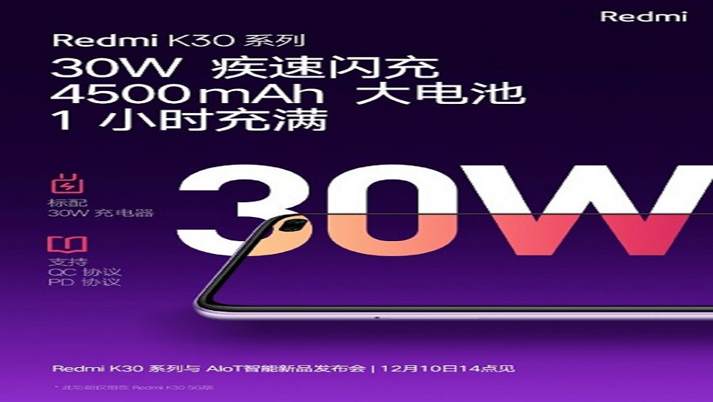 Redmi K30 to Come with a 4,500 mAh Battery