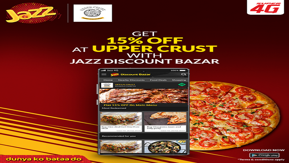 Get 15% Off at Upper Crust with Jazz Discount App