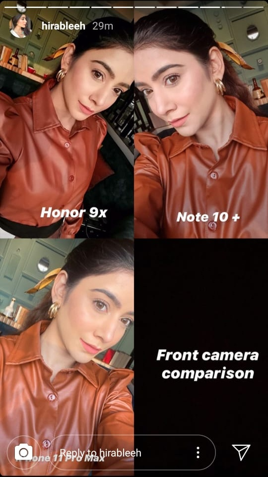 Hira comparing HONOR 9X PopUp Selfie Camera Mode