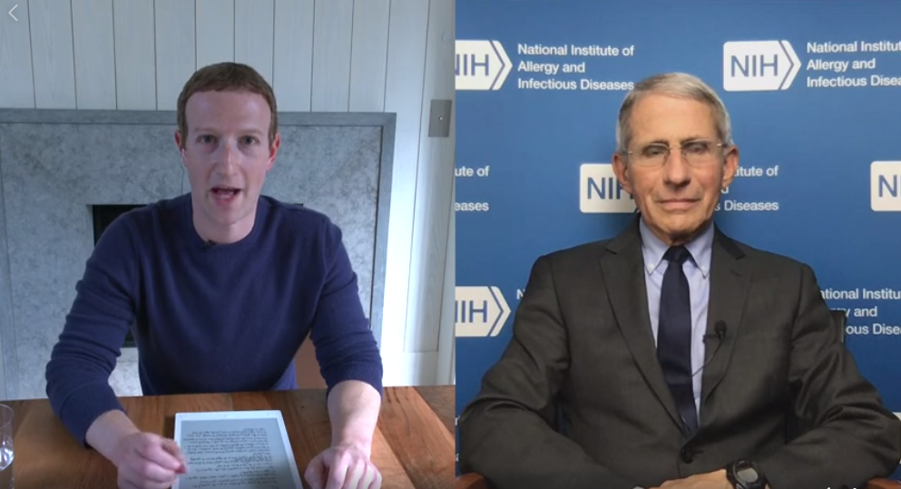 Mark Zuckerberg Goes Live With Dr. Anthony Fauci, Infectious Disease Expert, On Facebook