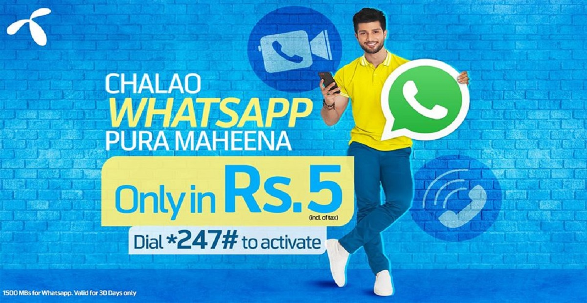 Now Get Unlimited WhatsApp with Telenor's Chalao WhatsApp Poora Maheena Offer