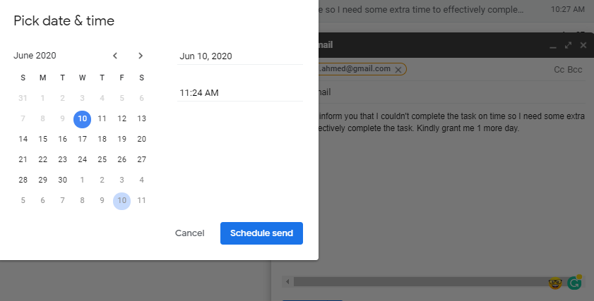 "Click ""Schedule Send"""