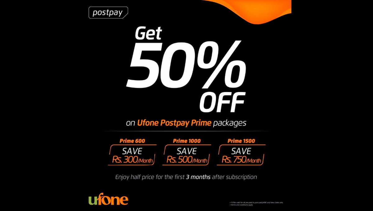 Photo of Now Get 50% Discount on Ufone Postpay Prime Packages