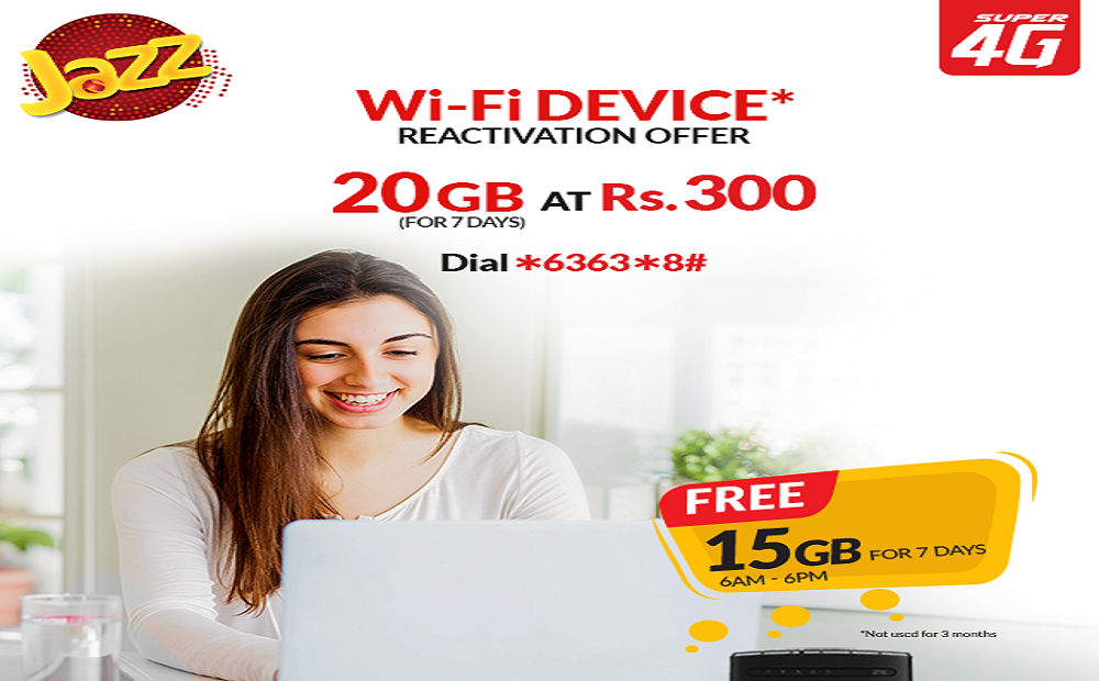 Jazz Introduces Welcome Back offer for Super 4G WiFi Device Users