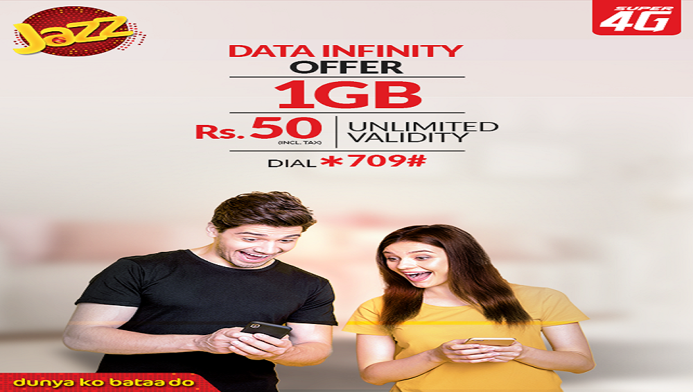Jazz Data Infinity Offers 1GB in Rs.50