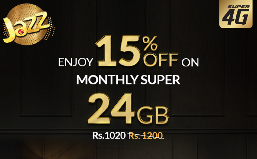 Enjoy 15% Off on Jazz Monthly Super 24 GB Offer