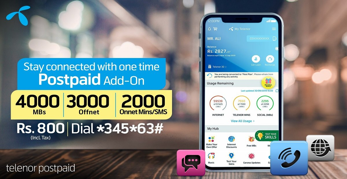 Stay Connected with Your Loved Ones with Telenor One Time Postpaid Add-On Bundle